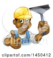 Clipart Graphic Of A Cartoon Happy Black Male Window Cleaner In A Hardhat Giving A Thumb Up And Holding A Squeegee Royalty Free Vector Illustration
