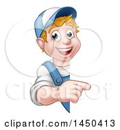 Cartoon Happy White Male Worker Pointing Around A Sign