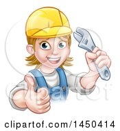Clipart Graphic Of A Cartoon Happy White Female Plumber Holding An Adjustable Wrench And Giving A Thumb Up Royalty Free Vector Illustration