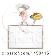 Cartoon Caucasian Male Chef With A Curling Mustache Holding A Kebab Sandwich On A Tray Pointing Down Over A Blank Menu Sign