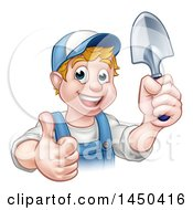 Clipart Graphic Of A Cartoon Happy White Male Gardener In Blue Holding A Garden Trowel And Giving A Thumb Up Royalty Free Vector Illustration