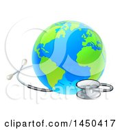 Clipart Graphic Of A Blue And Green World Earth Globe With A Stethoscope Royalty Free Vector Illustration
