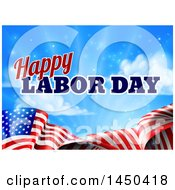 Waving American Flag With Flares And Happy Labor Day Text Against Blue Sky