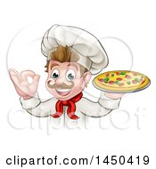 Clipart Graphic Of A Cartoon Happy White Male Chef Gesturing Perfect And Holding Up A Pizza Royalty Free Vector Illustration by AtStockIllustration