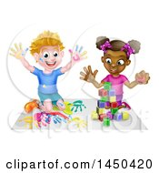 Clipart Graphic Of A Cartoon Happy Black Girl Playing With Toy Blocks And White Boy Finger Painting Royalty Free Vector Illustration