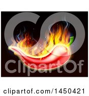Poster, Art Print Of Fiery Burning Hot Red Chile Pepper On Black