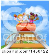 Clipart Graphic Of Happy White And Black Girls At The Top Of A Roller Coaster Ride Against A Blue Sky With Clouds Royalty Free Vector Illustration by AtStockIllustration