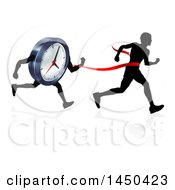 Clipart Graphic Of A Silhouetted Man Running Through A Finish Line Before A Clock Character Royalty Free Vector Illustration by AtStockIllustration