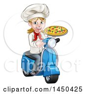 Clipart Graphic Of A Cartoon Happy White Female Chef Holding A Pizza On A Scooter Royalty Free Vector Illustration