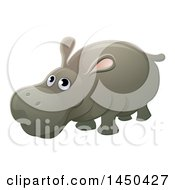 Clipart Graphic Of A Cartoon Hippopotamus Royalty Free Vector Illustration by AtStockIllustration