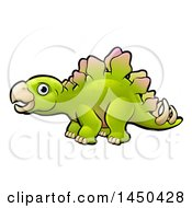 Clipart Graphic Of A Cartoon Green Stegosaur Dino Royalty Free Vector Illustration