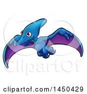 Clipart Graphic Of A Cartoon Flying Pterodactyl Dino Royalty Free Vector Illustration