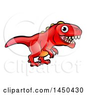 Clipart Graphic Of A Cartoon Red Tyrannosaurus Rex Dino Royalty Free Vector Illustration by AtStockIllustration