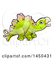Clipart Graphic Of A Cartoon Stegosaurus Dino Royalty Free Vector Illustration