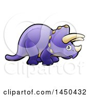 Clipart Graphic Of A Cartoon Purple Triceratops Dino Facing Right Royalty Free Vector Illustration