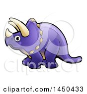 Clipart Graphic Of A Cartoon Purple Triceratops Dino Facing Left Royalty Free Vector Illustration by AtStockIllustration