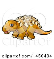 Clipart Graphic Of A Cartoon Ankylosaurus Dino Royalty Free Vector Illustration