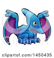 Clipart Graphic Of A Cartoon Pterodactyl Dino Royalty Free Vector Illustration