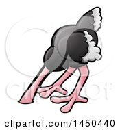 Clipart Graphic Of A Cartoon Ostrich Bird With Its Head In The Sand Royalty Free Vector Illustration