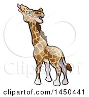 Clipart Graphic Of A Cartoon Giraffe Reaching With His Tongue Royalty Free Vector Illustration by AtStockIllustration