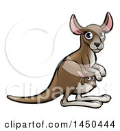 Clipart Graphic Of A Cartoon Mother And Baby Kangaroo Royalty Free Vector Illustration