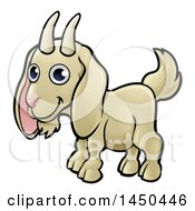 Clipart Graphic Of A Cartoon Happy Goat Royalty Free Vector Illustration