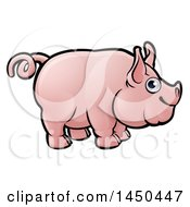 Clipart Graphic Of A Cartoon Happy Pig With A Curly Tail Royalty Free Vector Illustration