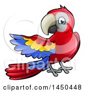 Clipart Graphic Of A Cartoon Scarlet Macaw Parrot Presenting To The Left Royalty Free Vector Illustration