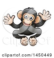 Clipart Graphic Of A Cartoon Happy Chimpanzee Royalty Free Vector Illustration by AtStockIllustration