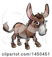 Cartoon Happy Brown Donkey