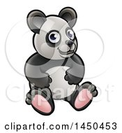 Clipart Graphic Of A Cartoon Sitting Panda Royalty Free Vector Illustration