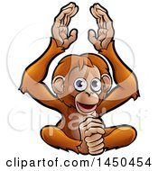 Clipart Graphic Of A Cartoon Happy Clapping Monkey Royalty Free Vector Illustration