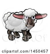 Clipart Graphic Of A Cartoon Black Sheep Royalty Free Vector Illustration