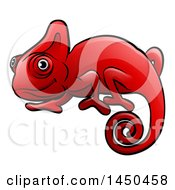 Clipart Graphic Of A Cartoon Happy Red Chameleon Royalty Free Vector Illustration by AtStockIllustration