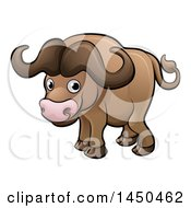 Clipart Graphic Of A Cartoon African Buffalo Royalty Free Vector Illustration