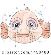 Clipart Graphic Of A Cartoon Swimming Blobfish Royalty Free Vector Illustration