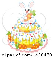 White Easter Bunny Holding A Carrot On Top Of A Cake