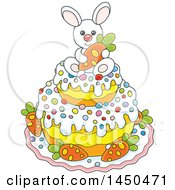Clipart Graphic Of A Cartoon Cute Easter Bunny Holding A Carrot On Top Of A Cake Royalty Free Vector Illustration by Alex Bannykh