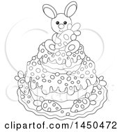 Cartoon Black And White Cute Easter Bunny Holding A Carrot On Top Of A Cake