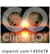 Sunset Over The Ocean In A Tropical Bay Framed By Palm Branches