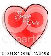 Clipart Graphic Of A Red And Black Watercolor Heart With Save The Date Text Royalty Free Vector Illustration