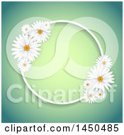 Clipart Graphic Of A Round Fame With White Daisy Flowers Over Gradient Royalty Free Vector Illustration