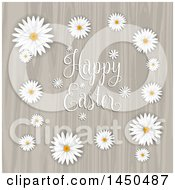 Clipart Graphic Of A Happy Easter Greeting In A Frame Of Daisies Over Wood Royalty Free Vector Illustration