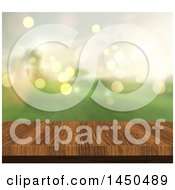 3d Wooden Table Top And Blurred Green View