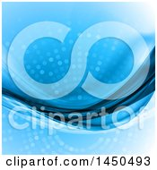Clipart Graphic Of A Blue Abstract Background With Halftone Dots And Waves Royalty Free Vector Illustration