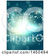 Clipart Graphic Of A Blue Abstract Background Of Sparkles And Flares Royalty Free Vector Illustration