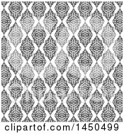 Clipart Graphic Of A Background Of Black And White Floral Damask Diamonds Royalty Free Vector Illustration by KJ Pargeter