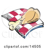 Tasty Chicken Drumstick On A Checkered Picnic Blanket Clipart Illustration