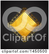Clipart Graphic Of A Fancy Golden Diamond Frame Over A Black Background Royalty Free Vector Illustration