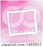 Poster, Art Print Of Blank White Picture Frame Hanging Over Pink Watercolor
